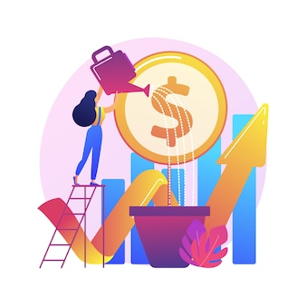 Investimento finanziario. analisi delle tendenze di mercato, investendo in aree redditizie, concentrandosi su progetti redditizi.