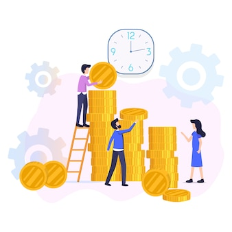 Financial investments return flat vector concept