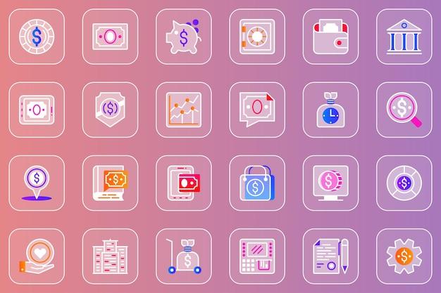 Financial items web glassmorphic icons set