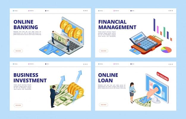 金融ランディングページ。ビジネスと金融のベクターバナーテンプレート、オンラインバンキング、財務管理、投資、クレジット