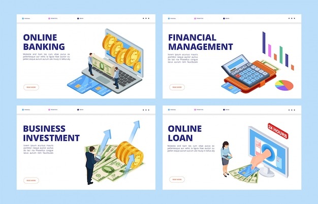 Financial landing page. business and finance vector banners template, online banking, financial management, investment and credit