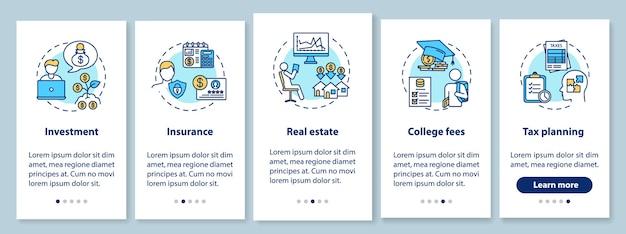 개념이 포함 된 모바일 앱 페이지 화면을 온 보딩하는 금융 정보 활용 애플리케이션