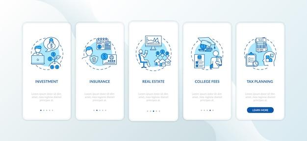 개념이 포함 된 모바일 앱 페이지 화면을 온 보딩하는 금융 문해력 애플리케이션