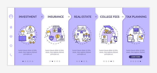 Financial literacy application onboarding vector template