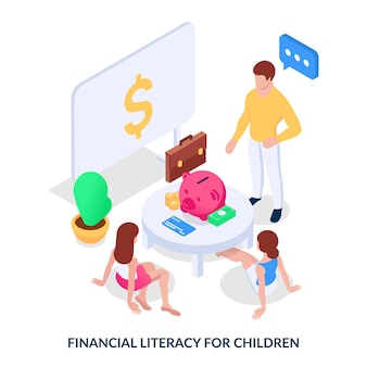 Financial literacy for children. concept. man teaches the younger generation how to handle money. isometric vector illustration on white background