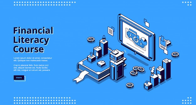 Financial literacy course isometric landing page.
