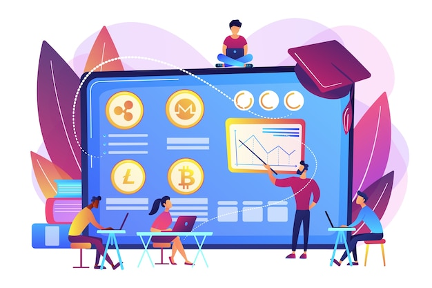 Financial literacy education, e business school. cryptocurrency trading courses, crypto trade academy, learn how to trade cryptocurrency concept.