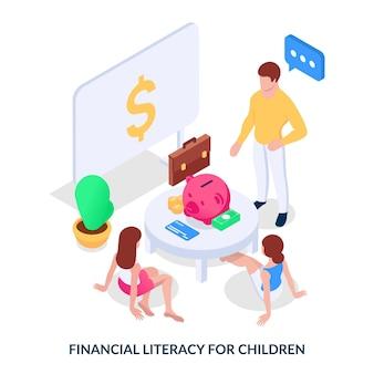 어린이를 위한 금융 이해력. 개념. 남자는 젊은 세대에게 돈을 다루는 방법을 가르칩니다. 흰색 배경에 아이소메트릭 벡터 일러스트 레이 션