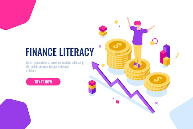 Изометрические финансовой грамотности, бухгалтерский учет, экономическая иллюстрация с женщиной, которая стоит на подиуме