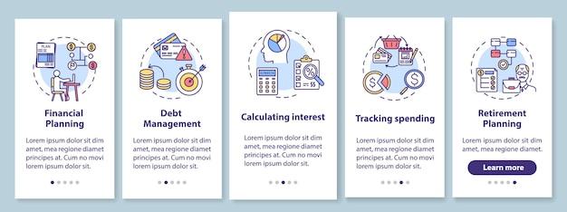 개념이있는 모바일 앱 페이지 화면을 온 보딩하는 금융 이해력 목표