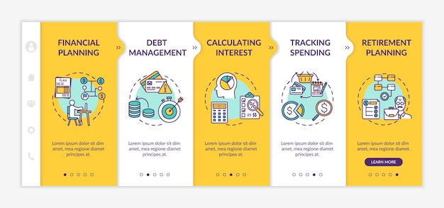 Financial literacy objectives onboarding vector template