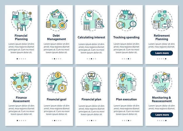 개념이 설정된 금융 지식 온 보딩 모바일 앱 페이지 화면