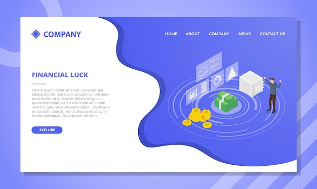 Financial luck concept for website template or landing homepage design