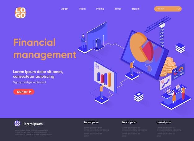 Финансовый менеджмент 3d изометрическая иллюстрация целевой страницы с персонажами людей