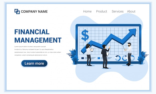 Financial management concept with people analyzing financial graph.