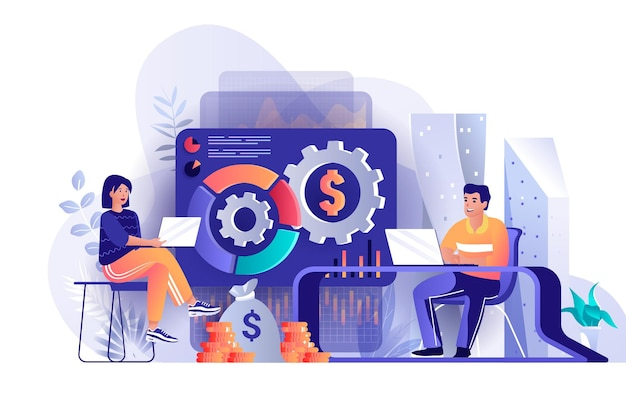 Financial management flat design concept illustration of people characters