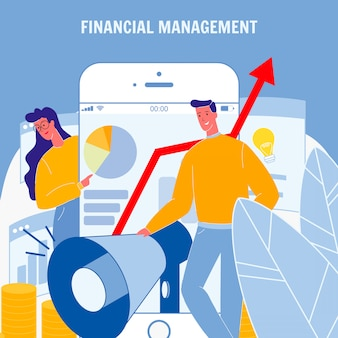 Financial management flat vector poster with text