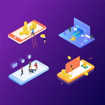 Financial management investment concept. can use for web banner, infographics, hero images. flat isometric element vector illustration.