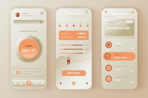 Финансовый менеджмент неоморфный комплект. приложение мобильного кошелька с финансовым мониторингом банковских и кредитных карт. интерфейс онлайн-банкинга, набор шаблонов ux. графический интерфейс для отзывчивого мобильного приложения.