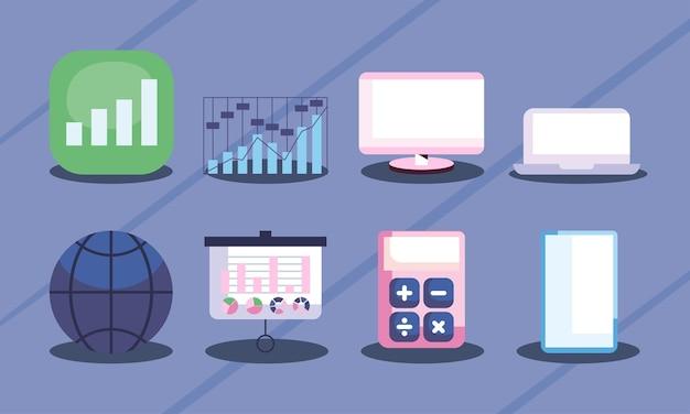 재무 관리 온라인 아이콘 세트