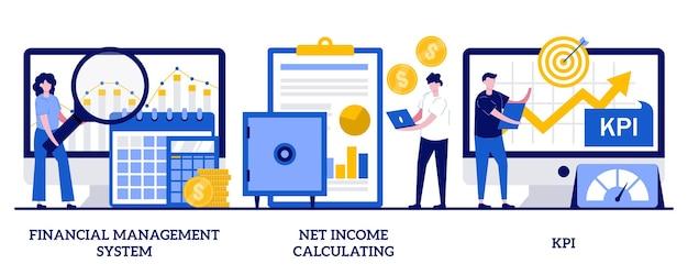 Система управления финансами, расчет чистой прибыли, концепция kpi с маленькими человечками. набор векторных иллюстраций оценки корпоративной прибыли. ключевой показатель эффективности, возьмите метафору оплаты труда.