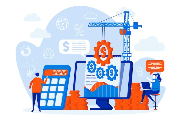 Financial management web design with people characters illustration