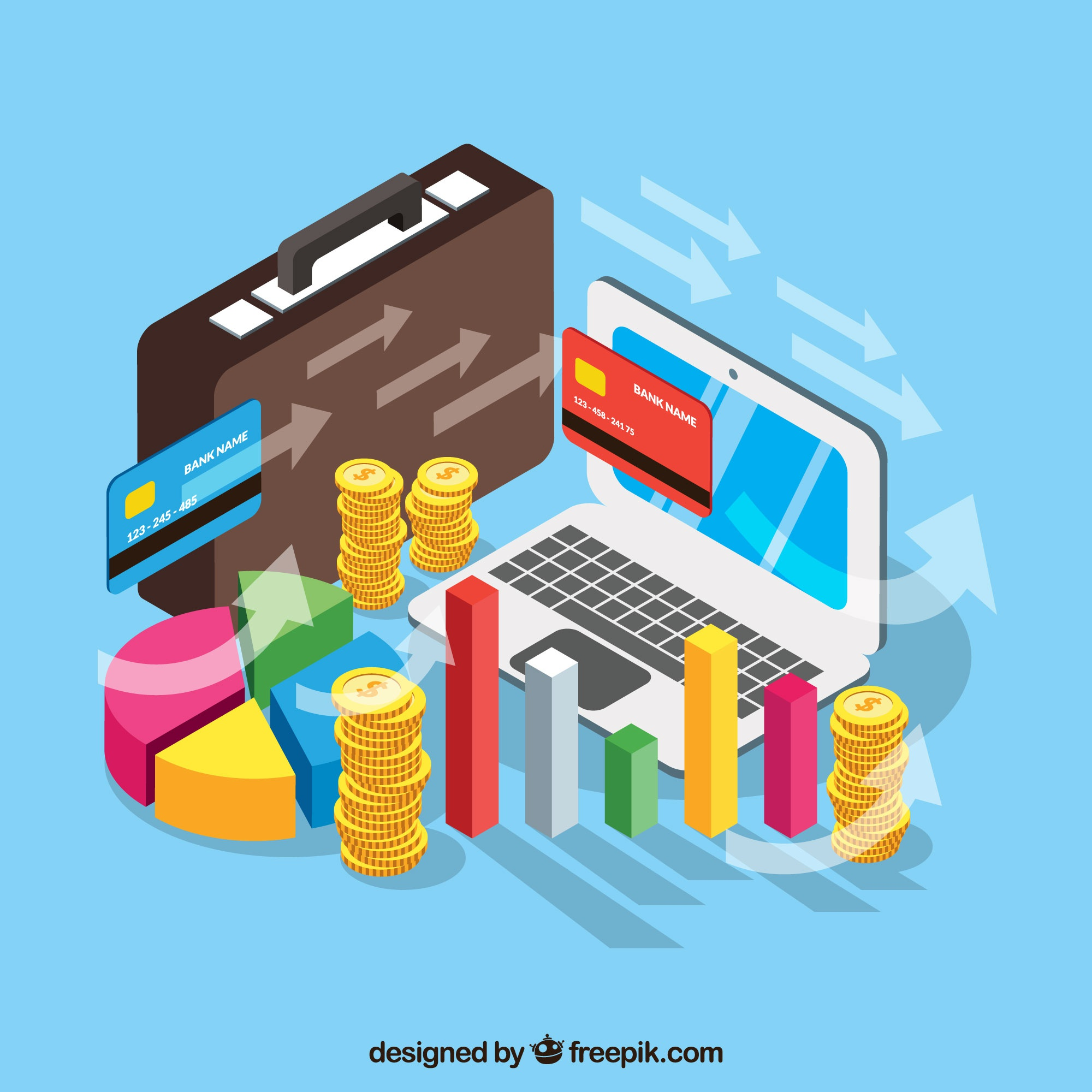 Financial management with isometric perspective
