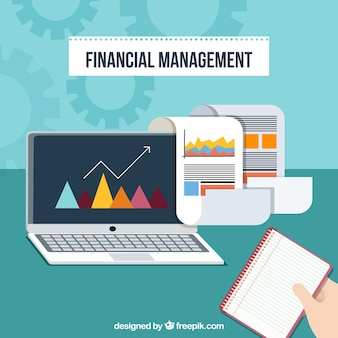 Financial management with laptop