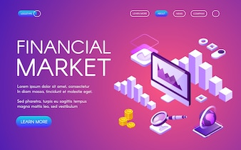 Financial market illustration of digital marketing and Bitcoin cryptocurrency trade statistic