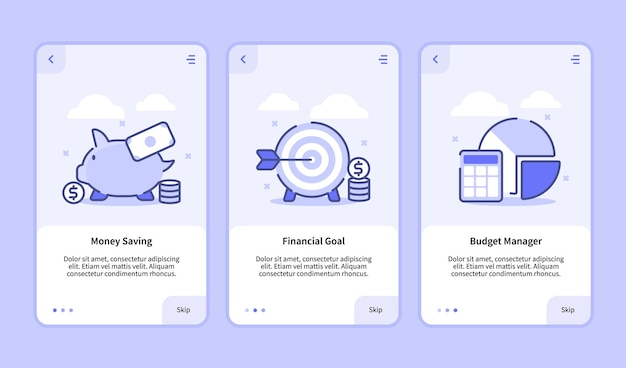 Financial onboarding screen modern user interface ux ui template for mobile apps smartphone money saving financial goal budget manager with flat style