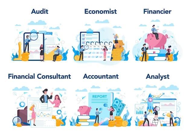 金融またはビジネスの職業セット。ビジネスキャラクター作り