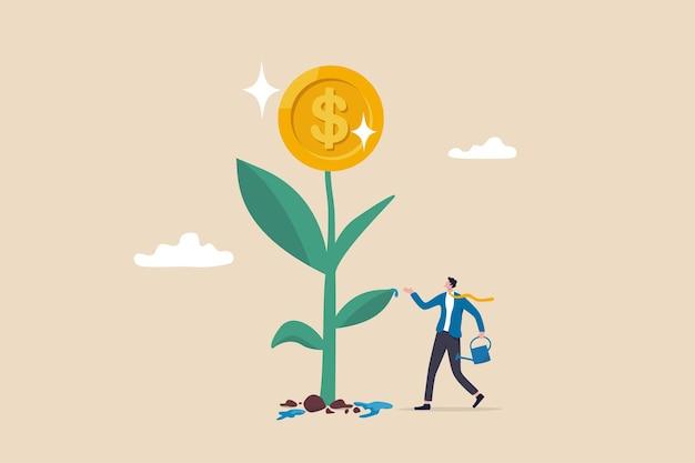 金融または投資の成長、収益とキャピタルゲインの増加、ウェルスマネジメントの概念の成功、賢いビジネスマンの投資家は、コインフラワーで成長する金のなる植物の苗に水をやり終えます