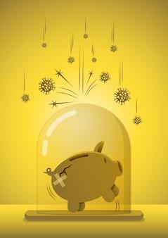 Covid-19 코로나 바이러스 위기 또는 전염병 개념의 저축에 대한 재정 또는 투자, 커버 유리에 서 있는 건강하고 행복한 돼지 저금통은 코로나바이러스로부터 보호되고 면역됩니다.