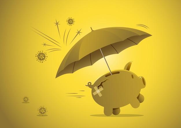 Covid-19 코로나 바이러스 위기 또는 전염병 개념의 저축에 대한 재정 또는 투자, 바이러스 병원체 영향으로부터 보호하기 위한 보호 우산이 있는 돼지 저금통