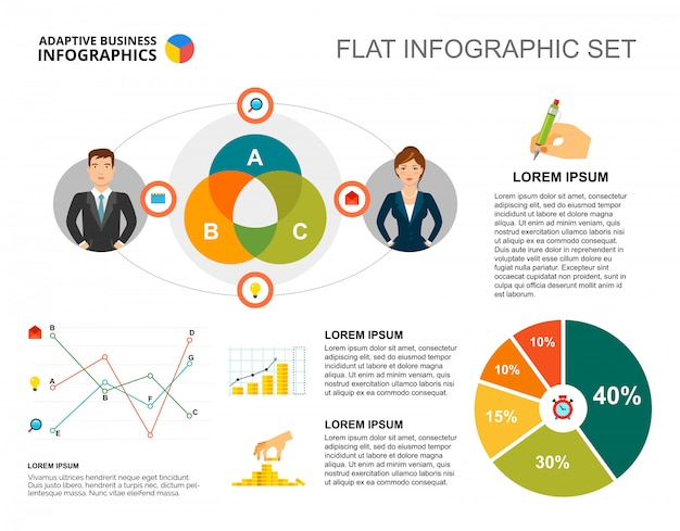 Financial pie and line charts template for presentation