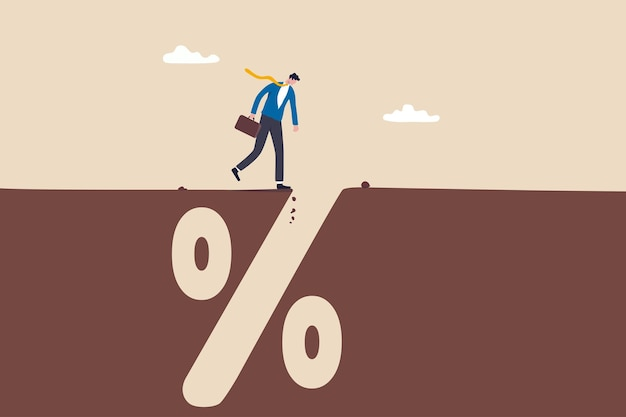 Financial pitfall, mistake or failure, mortgage, loan or debt trap or risk management, investment profit and loss concept, careful businessman looking into deep hole of banking percentage sign pit.