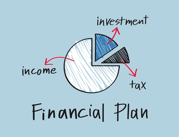 Financial plan pie chart illustration
