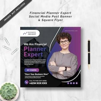 Financial planner expert social media post banner & square flyer
