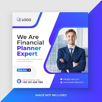 Financial planner web banner and social media post template