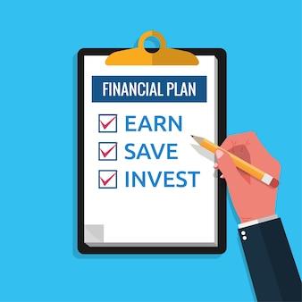 クリップボードの概念に関する財務計画チェックリスト。