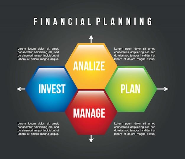 Financial planning illustration over black background vector