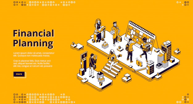 Financial planning isometric landing page, banner