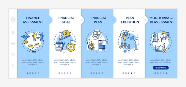 Financial planning process onboarding vector template. budget goal