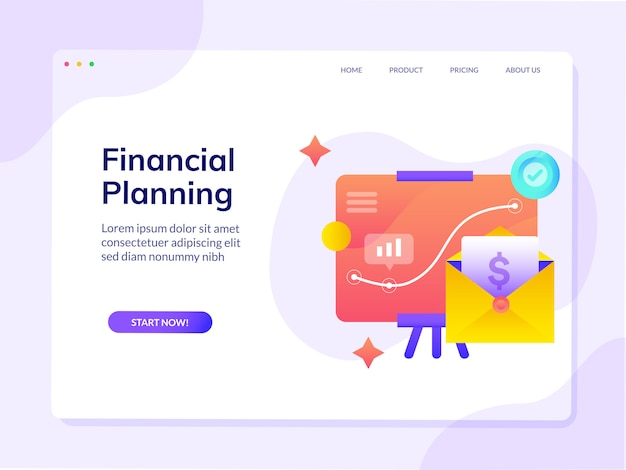 Financial planning website landing page  template