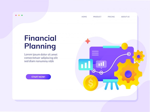 Financial planning website landing page vector design illustration template