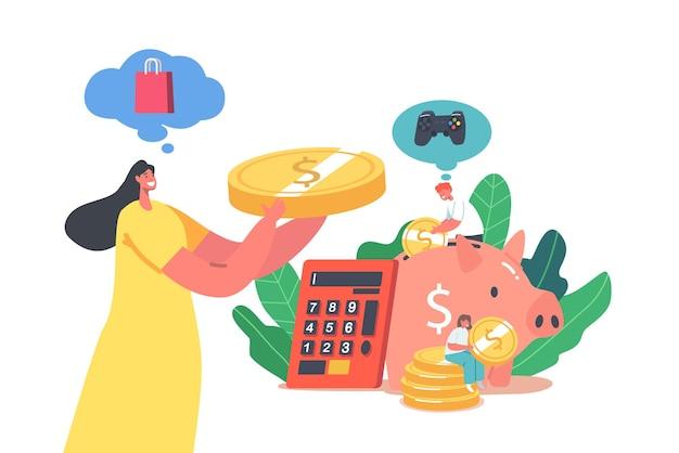 재정적 이익, 보편적 기본 소득, 급여 및 부의 개념을 얻습니다. 돼지 저금통에 동전을 넣는 작은 여성 캐릭터