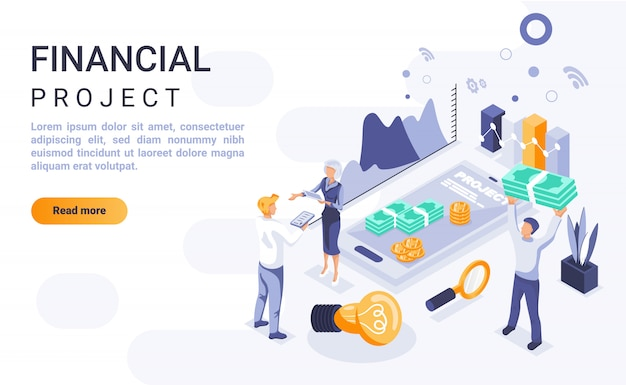 Financial project landing page banner  with isometric illustration