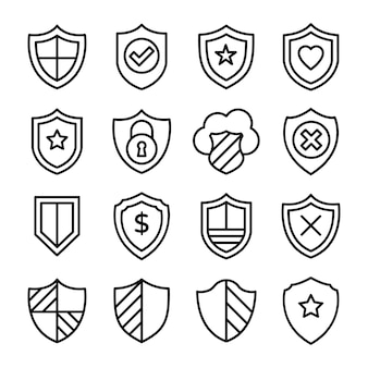 Financial protection line icons pack