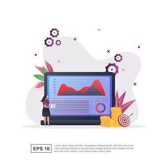 ノートパソコンでチャートを見ている人との財務報告の概念。