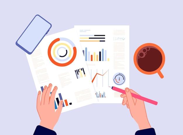 財務報告。チャート、銀行図、または調査結果を書く手。投資の計算、会計トップビューのベクトル図に従事している人。ビジネスドキュメントのレポート